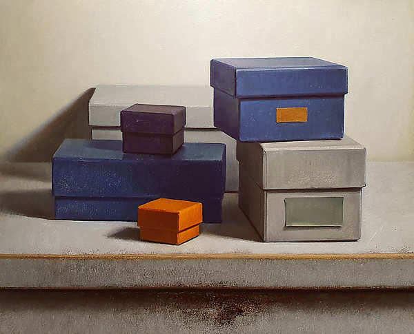 Painting: Still life boxes Composition with cardboard boxes and light background.