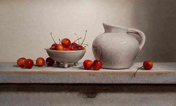 Painting: Still life with cherries and white jug