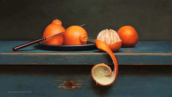 Painting: Still life with peeled clementine