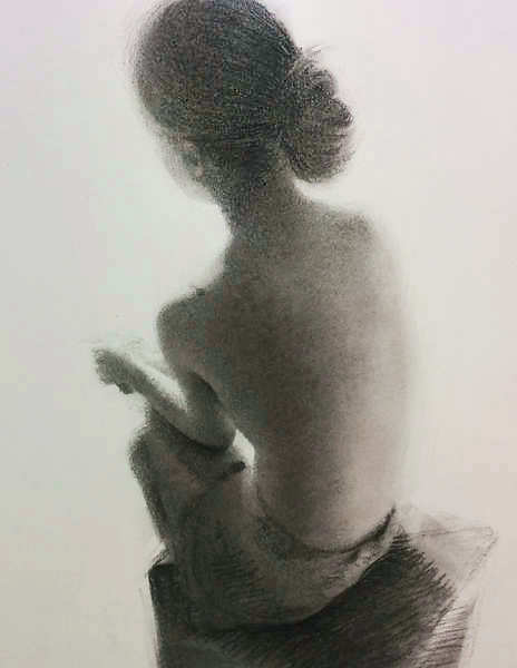 Painting: Small figure in charcoal