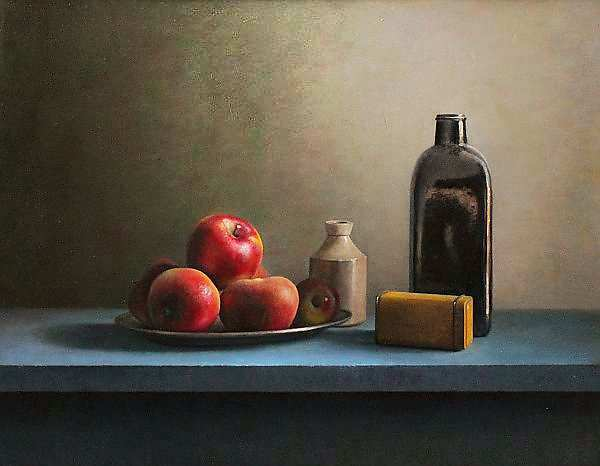 Painting: Still life with bottle and apples