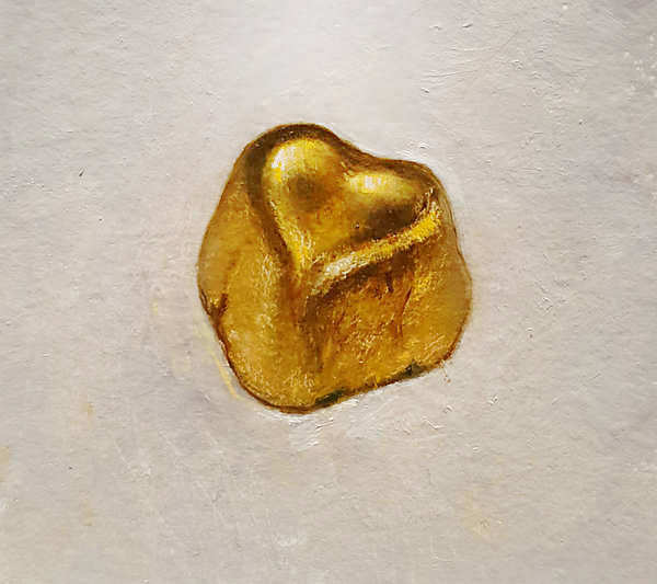 Painting: Still life with golden heart.