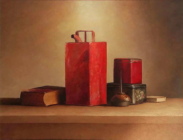 Painting: Stilllife with red oil can