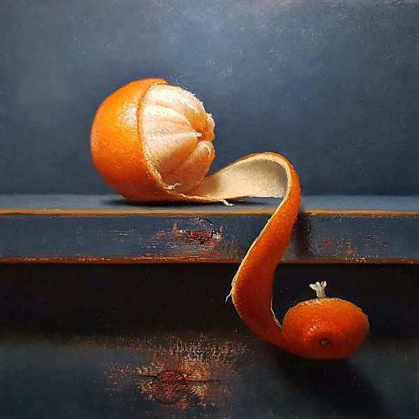 Painting: Still life with clementine