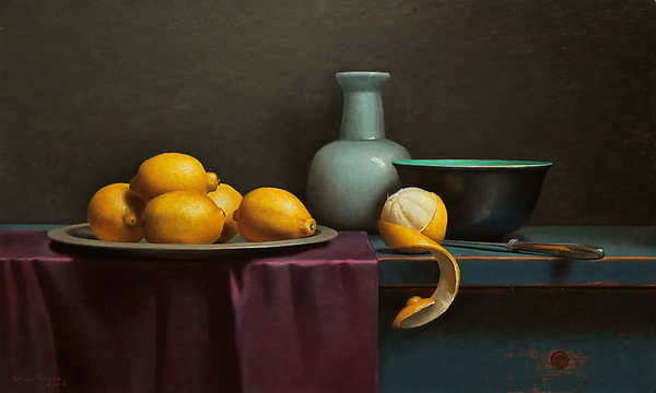 Painting: Still life with peeled lemon