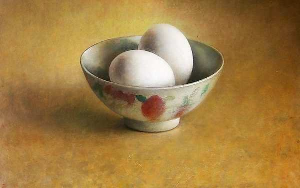 Painting: Still life with two eggs in bowl