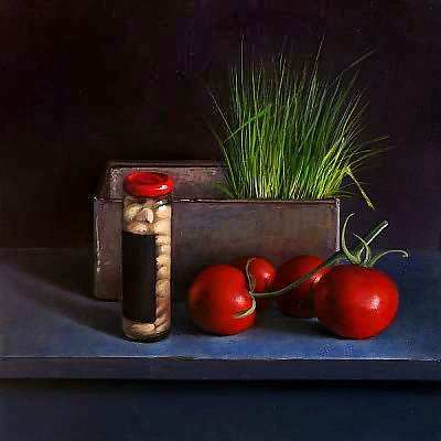 Painting: Still life with chives