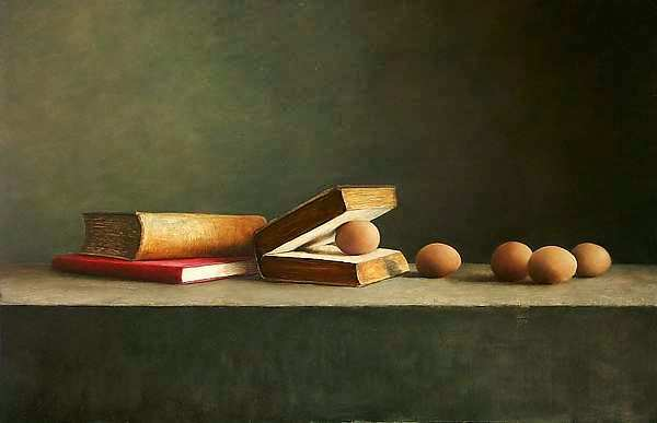 Painting: Still life with Open Book