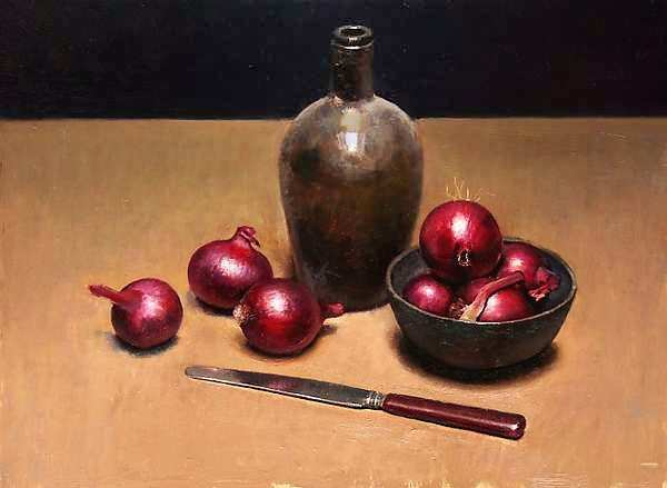 Painting: Still life with red onions