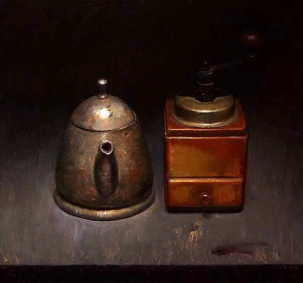 Painting: Still life with coffee grinder