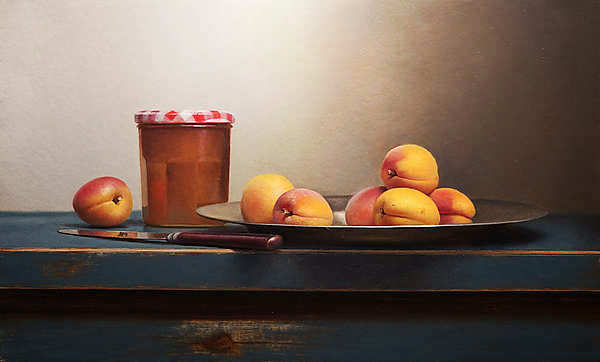 Painting: Still life with apricot jam