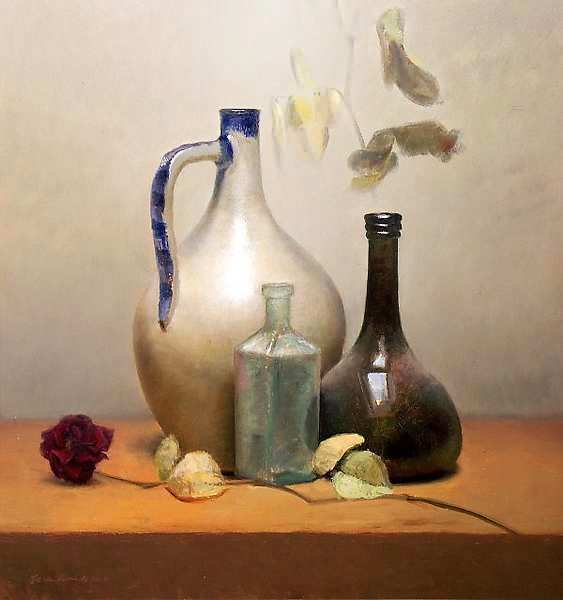 Painting: Still life with dried rose