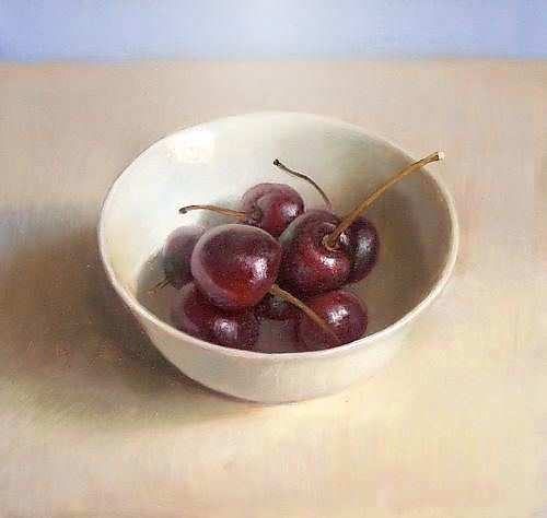 Painting: Still life with cherries