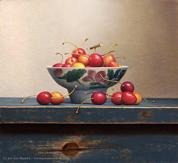 Painting: Cherry still-life.