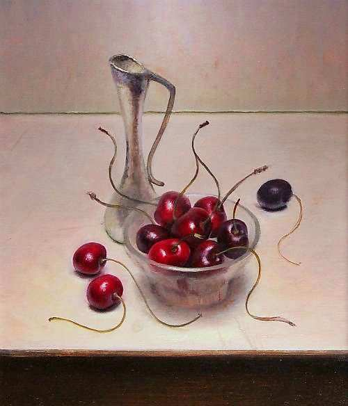 Painting: Still life with cherries and vase