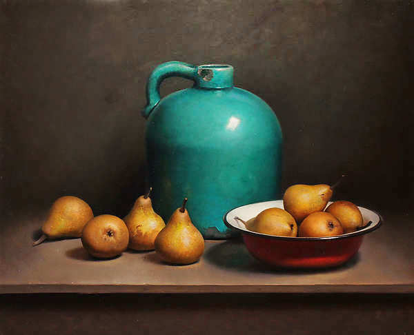 Painting: Still life with pears and green bottle