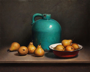 Still life with Pears and Green Bottle, 65x55cm, 2013.