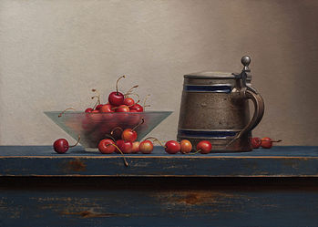 Still life with cherries and tankard, 54x40cm, 2014.