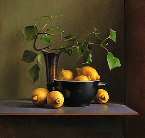 Still life with Lemons and Black Bowl, 55x52cm, 2013.