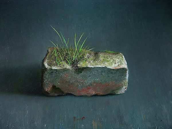 Painting: Still life with brick flora