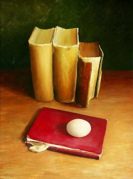 Painting: Still life with books and egg