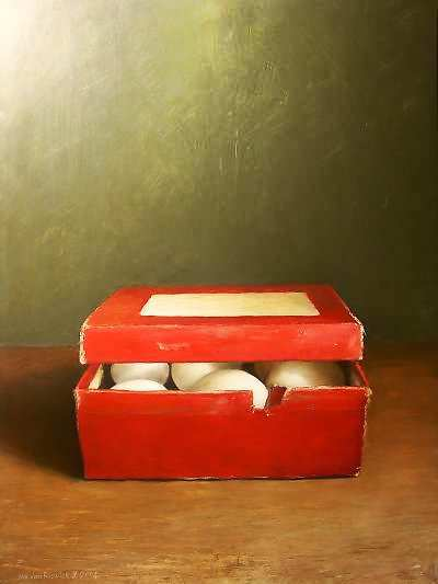 Painting: Red box with eggs