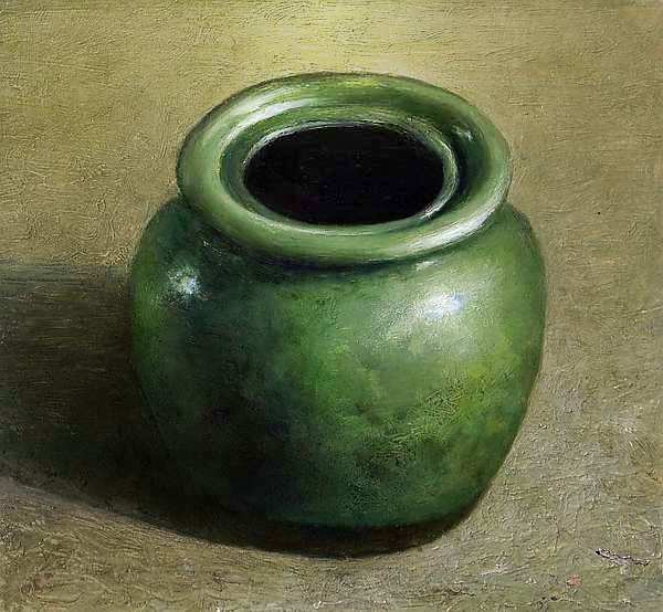 Painting: Still life with green apothekers jar