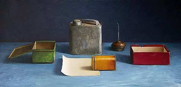 Painting: Still life with paper note