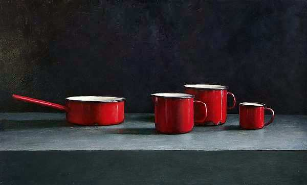 Painting: Still life with red cups