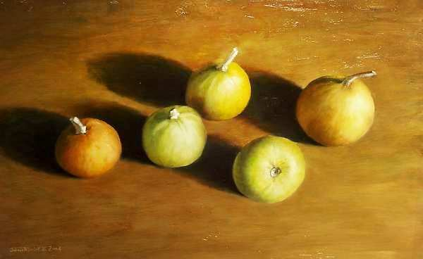 Painting: Still life with small pumpkins
