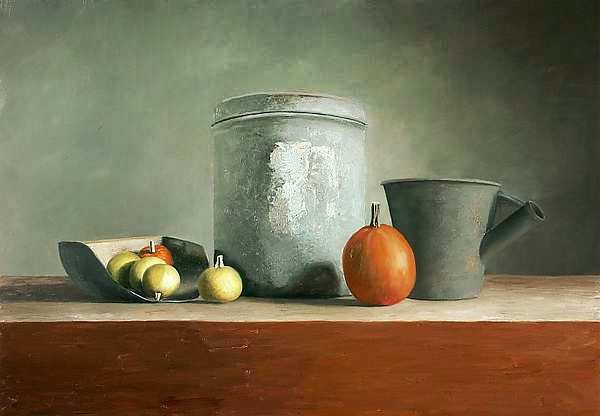 Painting: Still life with bucket
