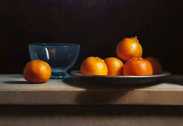 Painting: Still life with tangerines.