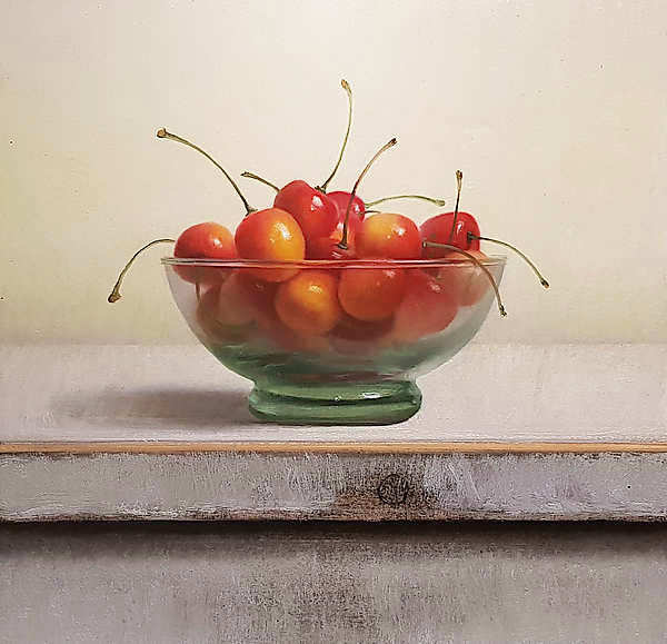 Painting: Still life with yellow cherries