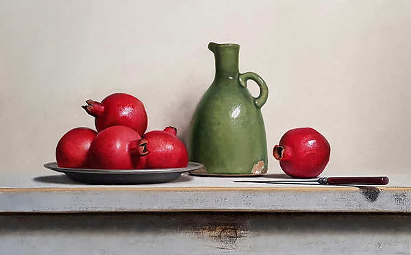 Painting: Still life with pomegranates