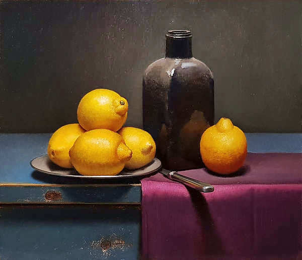 Painting: Lemon still life with bottle