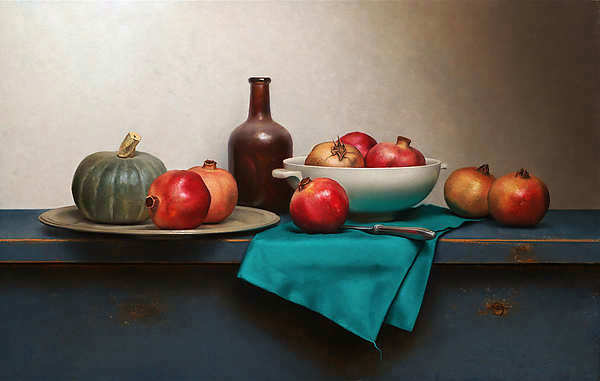 Painting: Still life with green napkin