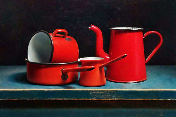 Painting: Stilllife with enamel objects