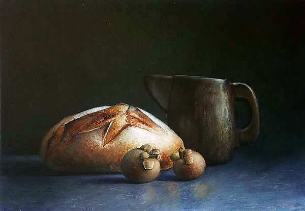 Painting: Kitchen still life with bread