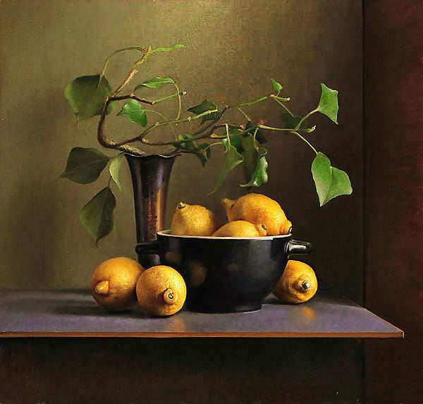 Painting: Still life with lemons in black bowl