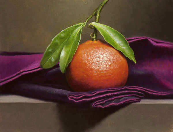 Painting: Still life with tangerine