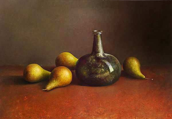Painting: Still life with 17th century bottle