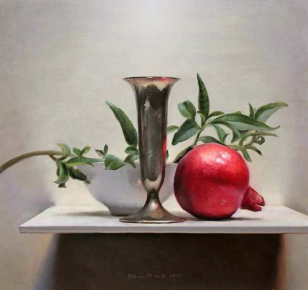 Painting: Cherries with tankard