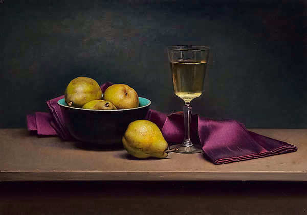 Painting: Still life with purple napkin