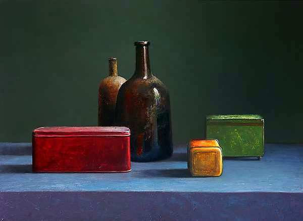 Painting: Still life with bottle and tin cans