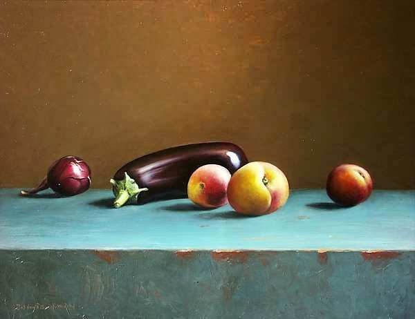 Painting: Still life with aubergine