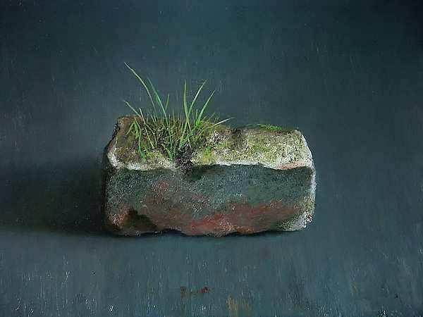 Painting: Still life with brick flora