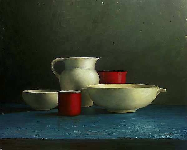 Painting: Blue still life with white jug