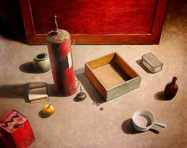 Painting: Still life with fire extinguisher