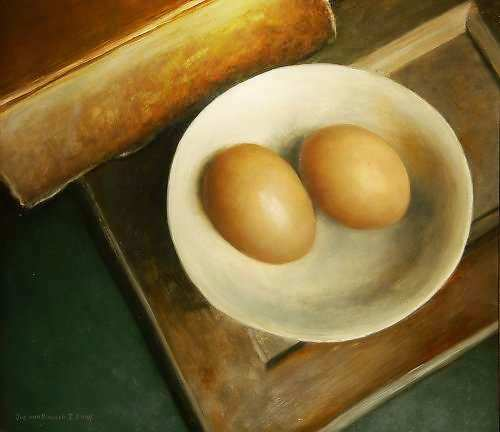 Painting: Book & 2 Eggs