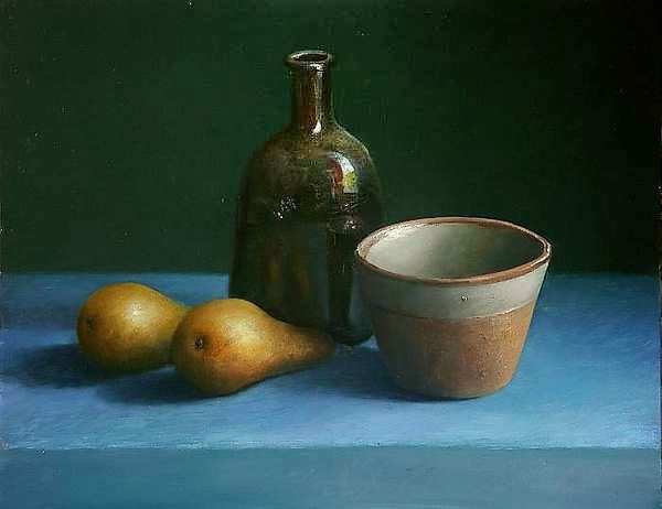 Painting: Still life with bottle and two pears